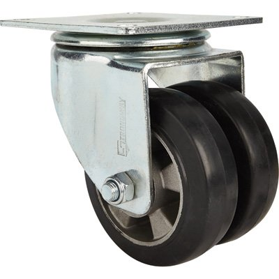 Heavy Duty Dual Wheel Caster (Strongway 6in. Swivel Heavy-Duty Dual-Wheel Caster - 1,800-Lb. Capacity, Rubber Wheels/Aluminum Core)