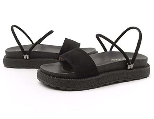 La Playa Pie Flops Furtivamente Zapatillas Nvxie Zapatos Del Mujer Verano Sandalias Romano Mirar Dedo Bohemia Dar Plano Black Redondo Vuelta YZRROwxqP