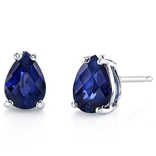 (14 Karat White Gold Pear Shape 2.00 Carats Created Blue Sapphire Stud)