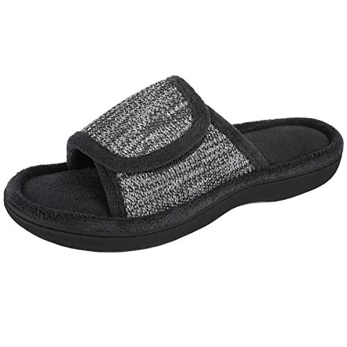 RockDove Women's Velcro Memory Foam Slide, Size 11-12 US Women, Black
