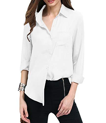 Yidarton Women Autumn Dresses Long Sleeve Chiffon Shirt Boxy Blouse Button Down Chiffon Blouse Shirts Tops with Chest Pocket (White, L)