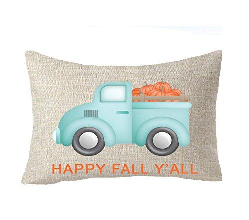 FELENIW Happy Fall Yall Gifts Pumpkin Harvest Car Throw Pillow Cover Cushion Case Cotton Linen Material Decorative Lumbar 12x20 inches