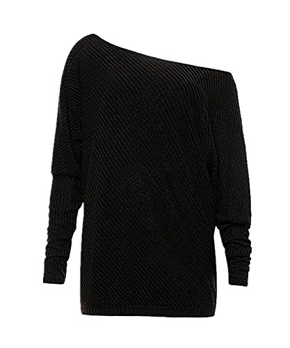 B dressy Fashion Women's Off Shoulder Batwing Sleeve Loose Pullover Sweater Knit Jumper BlackX-Large