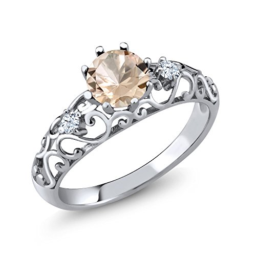 - 0.68 Ct Round Peach Morganite 925 Sterling Silver Women's Ring (Size 7)