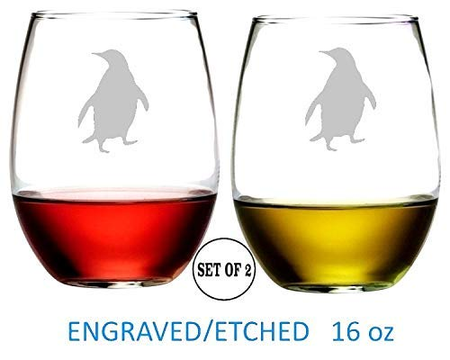 Penguin Stemless Wine Glasses Etched Engraved Perfect Fun Handmade Gifts for Everyone Dishwasher Safe Set of 2]()