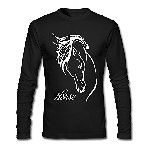 (Men's Horse Head Line Drawing Black Funny Long Tshirt)