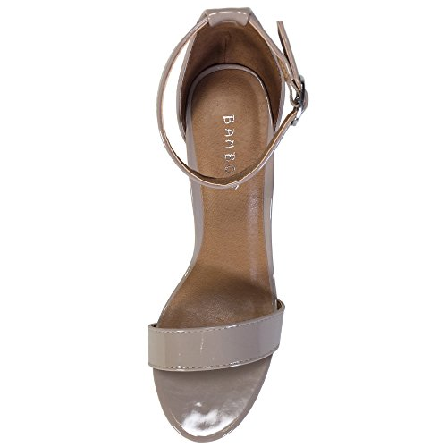 Patent Pu With Sandal Strap Band Ankle BAMBOO Nude Heel Chunky Single Women's qnwxFqYXPv