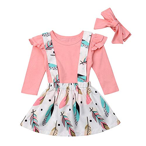 3pcs Kids Baby Girls Ruffle Long Sleeve T Shirts and Floral Overall Skirts Dress with Headset Outfits (Pink, 120(5-6Y))