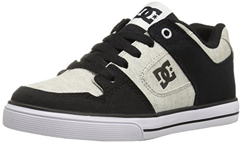 DC Men's Pure TX SE Skate Shoe, Black/White/Black, 2 M US Little Kid
