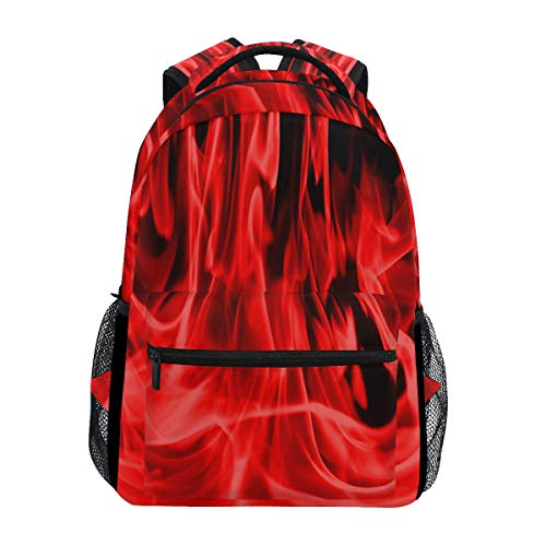 Women/Man Canvas Backpack Special Red Flames Zipper College School Bookbag Daypack Travel Rucksack Gym Bag For Youth