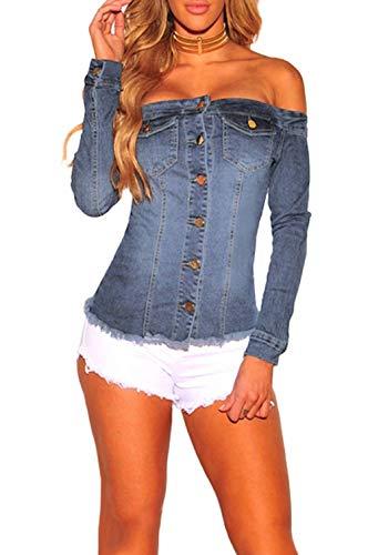 Shirt Top Denim (FOUNDO Women Off Shoulder Long Sleeve Denim Tops Button Blouse Shirt Tee Light Blue XXL)