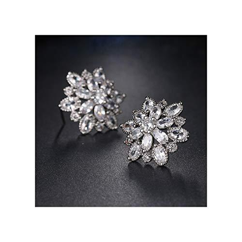 Hot Sell AAA Cubic Zircon Women Ear Stud Elegant Bridal Wedding Flower Stud Earrings,Platinum Plated,WHITE