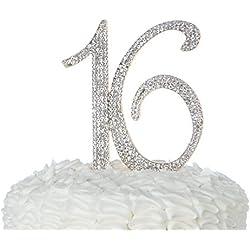 Ella Celebration 16 Cake Topper Gold 16th Birthday Party Supplies Sweet 16 Rhinestone Decoration (Gold)