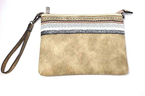 a1582e80118c4 Mandoline Damen Handtasche - Umhängetasche - Clutch Bag aus Kunstleder -  mit eingenähtem Zierrand - Schulterriemen