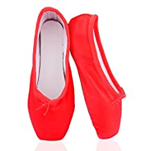 Pointe Shoes Ballet Dance for Girls Women with Ribbons & Silicon Gel Toe Pads