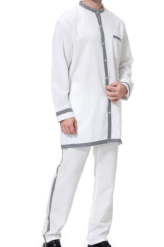 AngelSpace Men Basic Style 2-Piece Button Thawb Caftan Muslim Shirt Blouse Tops