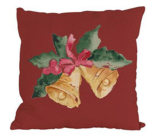Happy holiday christmas present red background Hat socks bell gloves crutches Cotton Linen Square Decorative Throw Pillow Case Cushion Cover 18inchs (2)