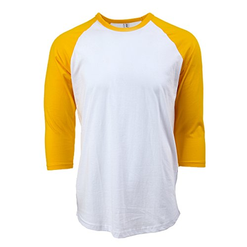 Rich Cotton Raglan T-Shirts (S, White/Yellow) -