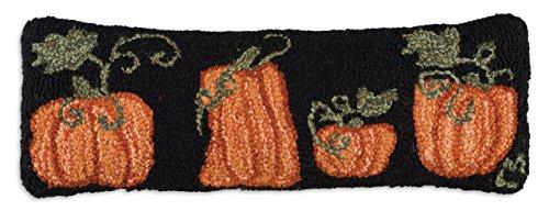 Hand Hooked Pumpkin Patch Pillow Zippered Velveteen Backing 8