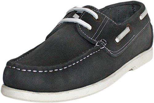 Bootsschuhe Halbschuhe aus Nubukleder Segelschuhe Schuhe schwarz/weiß