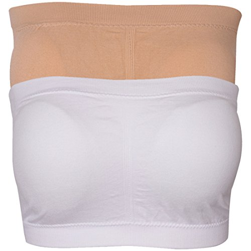 Bandeau Support - Elliscold Tube Tops for Women,Solid Seamless Padded Bra Strapless Bandeau Bra Stretch Wire-Free Yoga Bra, Beige White,XXL