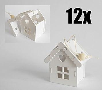 12 PIEZAS Casa Caseta Linterna bolsas para peladillas blanca de plástico con cordón DETALLE: Amazon.es: Hogar