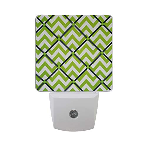 - Night Light Chartreuse Green White Navy Chevron Night Lamp LED Sensor Auto on/Off Led Plug in Wall Lights 2 Pack