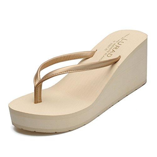 Fondo A Alto cm Pantofole da Infradito Estive CHENGXIAOXUAN 7 Tacco da Spiaggia Sandali Beige A Fondo Donna Spesso Pendenze Tacco Alto Piatto Antiscivolo p7gAqx5wS