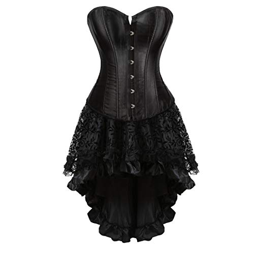 Zhitunemi Women Halloween Costume Gothic Victorian Corsets Burlesque Dresses Moulin Rouge Black Small