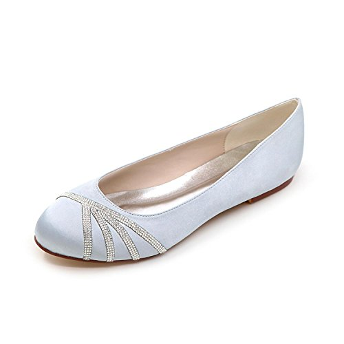 Silver Toe YC Red Weddingchampagne Women'S Silk White Flats Purple Round Flat Blue Heel Shoes Silver Pink L vw0Cdqw