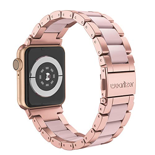 Wearlizer Pink Compatible with iWatch Band 42mm 44mm Fashion Wristbands Womens for iWatch Stainless Steel and Resin Replacement Strap Bracelet Metal Clasp Series 4 3 2 1 Sport Edition