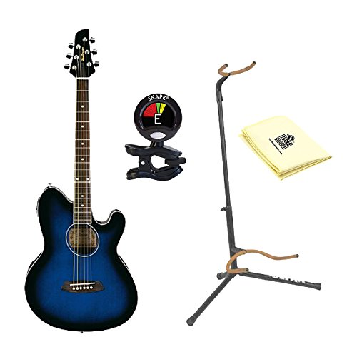 Ibanez TCY10ETBS Talman Acoustic-Electric Guitar, Transparent Blue Sunburst with Snark SN5X Clip-On Tuner for Guitar, Ultra 2445BK Basic Guitar Stand and Custom Designed Instrument Cloth Ultra 2445bk Guitar Stand