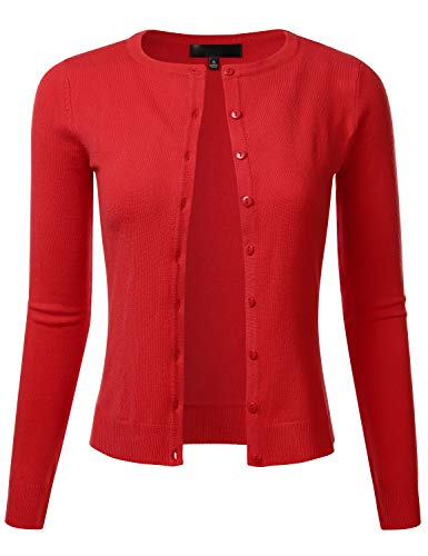 FLORIA Women's Slim Fit Long Sleeve Button Down Crew Neck Knit Cardigan Sweater RED M