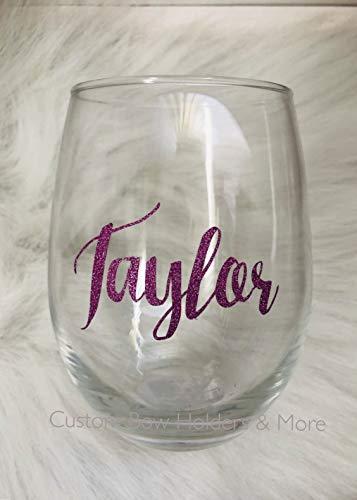 (Glitter Wine Glass, Personalized Stemless Wine Glass, Wifey, Sparkle, Bride Funny Wine Glass, Adult Party, White Elephant, Secret Santa, Host Gift, Teacher Gift, 21oz Any Color)