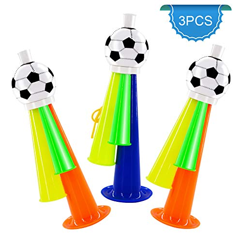 SOPHENA 3PCS Football Fans Plastic Horn - Party Carnival Concerts Funny Safety Three Sound Trumpet Toy Football, Basketball and Baseball