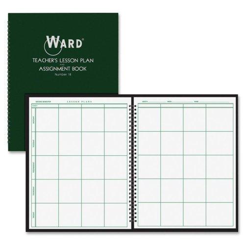 """Ward Teacher's 8-period Lesson Plan Book - 8.50"""" x 11"""" - 9 Month - White, Dark Green"""