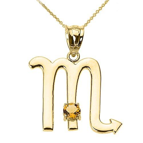 Personalized 10k Yellow Gold Genuine Citrine November Birthstone Scorpio Zodiac Pendant Necklace, 20