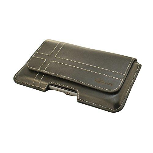OrLine Echt Leder-Schutzhülle für Apple Iphone 5 mit Magnetverschluss Halterung an Gürtel mit Klammer und Schlaufe Holster Case Handytasche Hülle Echt ledertasche Tasche Horizontal in der Farbe Schwar