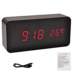 potato001 Modern Wooden Wood USB/AAA Digital LED Desk Alarm Clock Calendar Thermometer (Wooden Black)