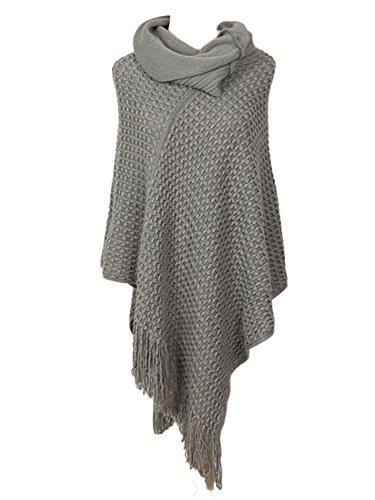 - PERSUN Womens Cowl Neck Asymmetric Hem Tassel Knit Hooded Poncho,Grey02