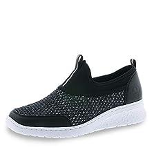 Rieker 581q2-00, Zapatillas sin Cordones para Mujer, Negro (Schwarz/Schwarz-Silber/Schwarz 00), 38 EU
