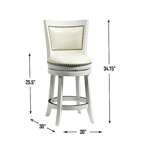Boraam 42424 Bristol Swivel Stool 24 Inch Distress White