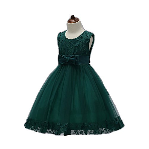 FKKFYY Girls Dresses for Toddlers Size 4 6 5T Tutu Tulle Wedding Lace Ball Gowns Little Girl Dresses Sash Size 5 Tea Length Dark Green Christmas Beauty Cute Princess Pageant - Length Tulle Tea Dress Wedding