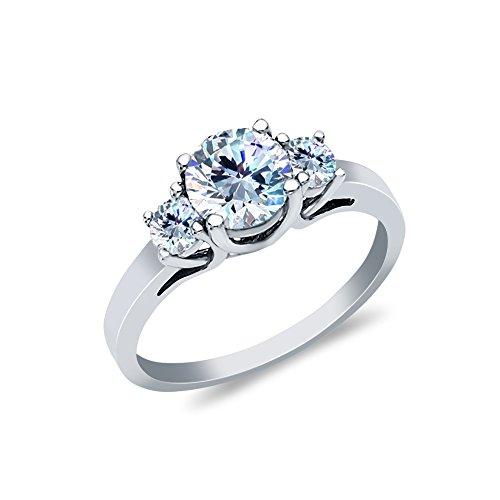 14 Tri Stone - Ioka - 14K White Solid Gold 1 Ct. 3 Round Tri Stone Cubic Zirconia CZ Wedding Engagement Ring - size 5.5