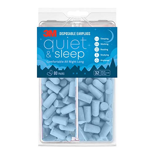 3M Disposable Earplugs, Hearing Protection for Quiet & Sleep, Light Blue, 32 NRR, 80 pairs in resealable package
