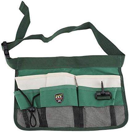 異なるサイズと深さの6つのポケットが付いている園芸用具ベルトウエストバッグ、オックスフォードの布調節可能なウエストベルト(グリーン)