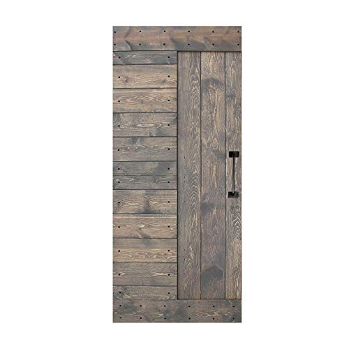 36in X 84in S Series DIY Knotty Pine Wood Interior Sliding Barn Door Slab with Handle (Aged Gray)