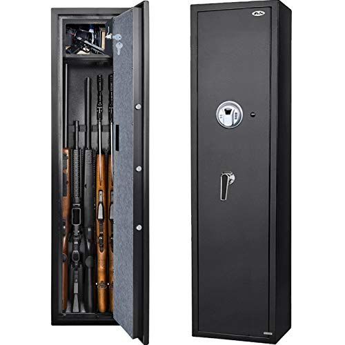 Moutec Large Biometric Rifle Gun Safe, Quick Access Fingerprint Rifle Gun Safe, 5-Gun Metal Rifle Gun Security Cabinet(Fits Rifle with/Without Scope with Separate Pistol/Handgun Lock Box