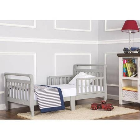 Dream On Me Sleigh Toddler Bed (Cool Grey) Non-Toxic Finish For Toddler Safety