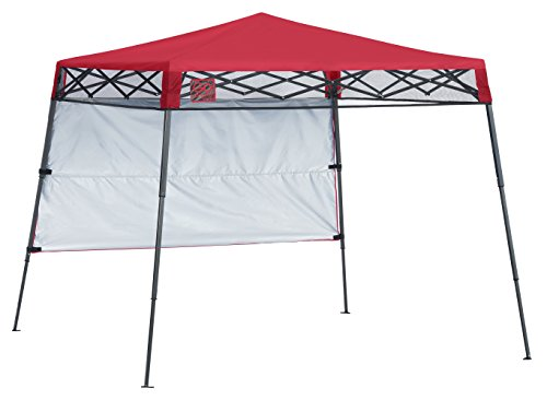 Quik Shade 7' x 7' Go Hybrid Pop-Up Compact and Lightweight Slant Leg Backpack Canopy, Red